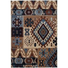 nice Rizzy Home Southwestern Blue/ Multi Abstract Bellevue Collection Power-Loomed Accent Rug (6'7 x 9'6)