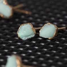 amazonite earrings / raw stone earrings / jade от DANIBARBEshop