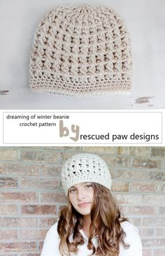 Dreaming of Winter Crochet Beanie Pattern. Free crochet pattern perfect for the fall & winter season! find out more in the link :: Rescued Paw Designs
