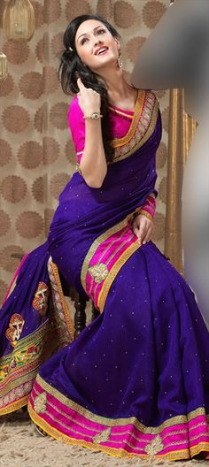106612, Party Wear Sarees, Embroidered Sarees, Art Silk, Sequence, Resham, Zari, Lace, Purple and Violet Color Family