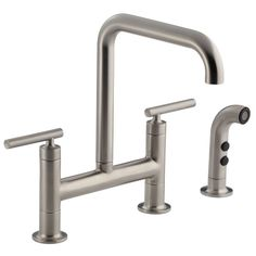 Buy the Kohler Vibrant Stainless Direct. Shop for the Kohler Vibrant Stainless Purist Double Handle Bridge Kitchen Faucet with Rotating Spout and Pull Out Spray and save. Bar Faucets, Kitchen Sink Faucets, Kohler Purist, Deck, Bridge Design, Side, Plumbing Fixtures, Polished Nickel, Minimalist Design