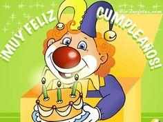 Payaso de Cumpleaños http://www.riotarjetas.com/feliz_cumpleanos.html Postales Animadas de Cumpleaños @ RioTarjetas.com