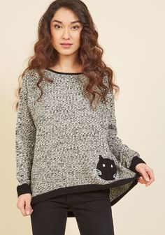 That's Old Mews Sweater. Your pals have said your style is rad, but this knit pullover one-ups that idea! #grey #modcloth