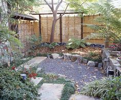 Keep it Simple        Make your patio a private sanctuary where you can relax in peace by employing simple design elements.        -- Bamboo panels are an inexpensive way to create privacy.        -- Natural materials, including gravel and stone, lend a peaceful feel.        -- Combining materials, from mondo grass as a groundcover to the gravel and stones, creates interest.