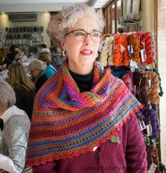 The Namaqualand Shawl is created using a 6-row repeat. It works really well with a long colour-change yarn.