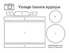 Vintage camera applique for kids clothes 3d Templates, Applique Templates, Applique Patterns, Paper Camera, Camera Cards, Mini Albums, Sewing Appliques, Marianne Design, Scrapbook Embellishments