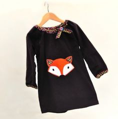 Mr Fox, chocolate cord dress by Wild things- Funky Little Dresses