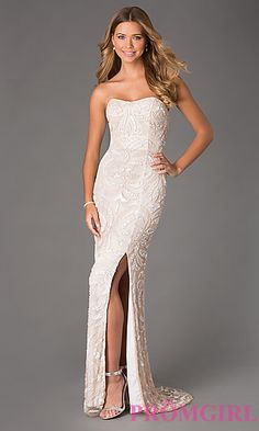 Floor Length Strapless Dress with Sequin Detail by Jump at PromGirl.com