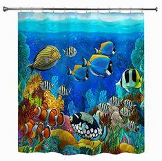 Photo Gallery - Undersea World Fish Printed Waterproof Shower Curtain Ocean Shower Curtain, Sea And Ocean, Fish Ocean, Undersea World, Coral Design, Underwater Fish, Ocean Scenes, Fish Print, Rock Crafts
