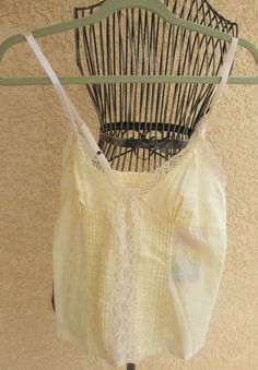 She's Cool Tank Top Eyelet Embroidery Yellow Spaghetti Straps New with Tag NWT #ShesCool #TankCami #Career