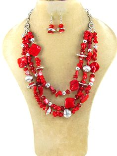 """Red stone necklace with matching fish hook earrings. Lead and Cadmium Free. 18""""  $19.95 shipped! We accept PayPal!"""
