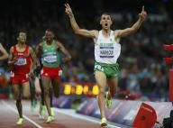Algeria's Taoufik Makhloufi reacts as he wins the men's 1500m final during the London 2012 Olympic Games at the Olympic Stadium