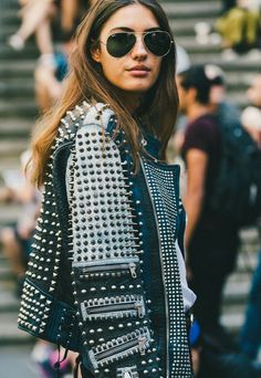 Diesel Black Gold Studded Leather Moto Jacket on Italian Blogger Patricia Manfield // How to Get This Look: (http://www.racked.com/2015/11/9/9675890/patricia-manfield-biker-jacket-street-style)