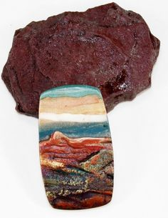 Handmade Polymer Clay 24 x 42 mm Rustic Pendant Focal-Canyon Dream-Southwestern…