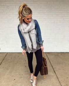 Easy weekend look, and the cutest gauze scarf that's marked down to $11 today! 🎉🙌🏼 Also, I survived our first round of cookie booth sales… Casual Fall Outfits, Fall Winter Outfits, Spring Outfits, Summer Winter, Cozy Winter, Casual Winter, Dress Casual, Winter Dresses, Outfit Summer