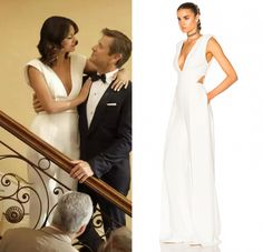 """Cristal Flores (Nathalie Kelley) wore a white plunging v neck jumpsuit in the Dynasty series premiere episode, """"I Hardly Recognized You"""". She is wearing a Brandon Maxwell Deep V Jumpsuit in White."""