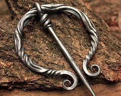 Forged Iron Fibula Pin Viking Medieval Nordic Brooch Costume Reenactment LARP Jewelry