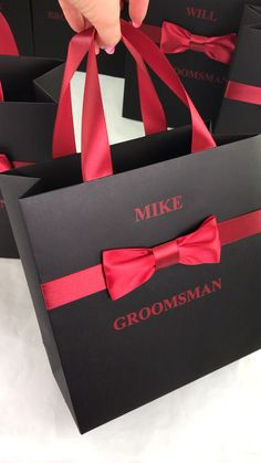 Elegant Groomsman Gift bag with satin ribbon bow tie and custom name, Personalized Black mens bags for wedding Party Gifts and Favors Party Gift Bags, Wedding Gift Bags, Wedding Favors For Guests, Party Gifts, Party Favors, Wedding Souvenir, Shower Favors, Destination Wedding Welcome Bag, Wedding Welcome Bags