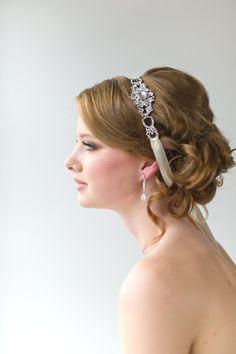 Bridal Ribbon Headband, Luxe Satin Ribbon Headband, Wedding Head Piece, Wedding Hair Accessory. $69.00, via Etsy.