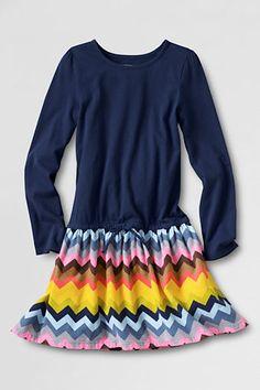 Girls' Long Sleeve Knit Woven Drop Waist Dress from Lands' End