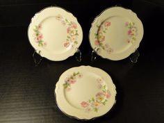 """Homer Laughlin Virginia Rose FLUFFY ROSE Bread Plate 6 1/4"""" FOUR EXCELLENT! #HomerLaughlin"""
