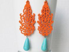 Orange Earrings Orange Jewelry Statement by AdornmentsbyDebbie, $24.00
