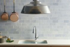 Blue Celeste subway tile by Walker Zanger