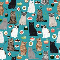 sushi cat fabric cute cats kitten design teal sushi kawaii fabric fabric by petfriendly on Spoonflower - custom fabric