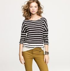 Preppy cool look... loving the olive pants