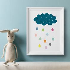 Cloud And Colourful Rain Drops Art Print