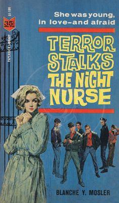 Terror Stalks the Night Nurse - 10 x 17 Giclée Canvas Print of Vintage Pulp Paperback.