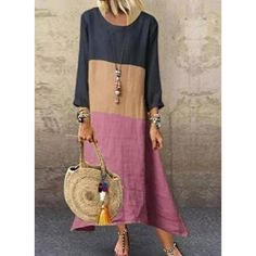 Material: Polyester Silhouette: A-Line Dress Length: Ankle-Length Sleeve Length: Nine Points Sleeve Neckline: Round Neck. Daily Fashion, Trendy Fashion, Womens Fashion, Vestidos Color Azul, Floryday Vestidos, Casual Dresses, Fashion Dresses, Maxi Dresses, Off Shoulder Fashion