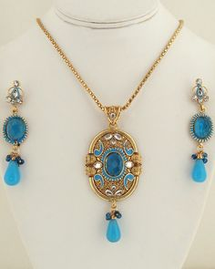 Antique Turquoise and clear crystal pendant necklace-023ATQP  http://www.craftandjewel.com/servlet/the-1197/Antique-Turquoise-and-clear/Detail
