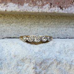 Antique Edwardian Diamond 5 Stone Wedding Anniversary Band Ring in Yellow Gold & Platinum CGN Antique Wedding Bands, Wedding Rings, Anniversary Bands, Wedding Anniversary, Antique Jewelry, Vintage Jewelry, Gold Platinum, Band Rings, Engagement Rings