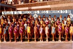 Swimsuit photo of 1971 Miss America contestants. Winner Phyllis George of Texas is top row fifth from left in yellow.