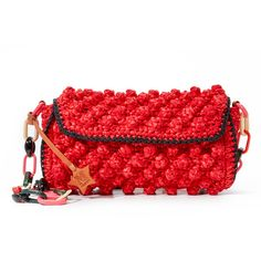 Yarn And Raffia Form Bold Bobbles On This Eclectic M Missoni Purse Contrast Crocheted
