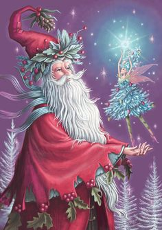 Father of the Fairies: Father Christmas cradles the Fir Tree Fairy in his palms & marvels at the splendour of her dazzling star magic / http://www.paper-dart.com/epages/Store2_Shop1409.sf/en_GB/?ObjectPath=/Shops/Store2.Shop1409/Products/XA32