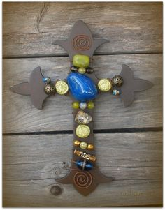 Fleur de Lis Wall Cross by rustiqueart available at http://www.rustiqueart.etsy.com