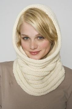 Luxury Cowl/Hood FREE PATTERN from Lion Brand nice and easy knit, great for beginners or more advanced learning to knit in the round
