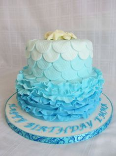 8 upside down ruffle with 6 scale embossed circles.  Topper is white chocolate sea shells.  Client is supplying a mermaid topper so I added the chocolates for the picture as I thought it was a little bare.