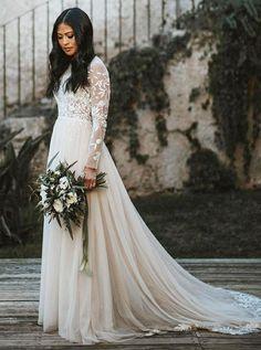 7c9a7a0c21 Boho Wedding Dresses with Long Sleeves,Tulle Wedding Dress Princess,boho  wedding dresses beach