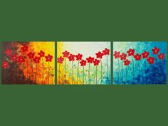 """Original Modern Abstract Impasto Palette Knife Acrylic Painting Landscape Flowers Wall Decor """"The Red Delight"""""""