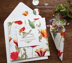 vintage garden wedding invitation www.bohemiandreams.co.uk