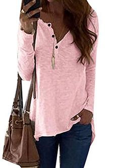de0d1bef35e2 KLJR Women s Leisure Long Sleeve Solid Slim Fit Tops Henley Shirts Please  kindly check the size