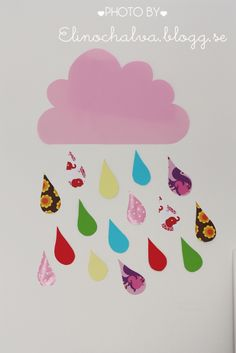 Diy made by me, a cloud and raindrops made of colored paper! Visit my blog to see more, www.elinochalva.blogg.se