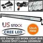 6D S CREE 700W 52Inch LED Light Bar Spot Flood Combo Truck Offroad Driving Lamp