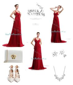 """""""Beading Criss Cross Back Chiffon Wine Red Straps Bridesmaid Dress"""" by bridemaiddresses100 on Polyvore featuring Givenchy, Gianvito Rossi, Versace and LARA"""