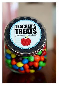 Ucreate: teacher gifts..this is where I can keep my treats.  downloadable jar labels