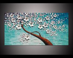 Hand painted white flower tree on blue green wall art picture for living room decor thick palette knife oil painting on canvas art By Lisa Hand painted white flower tree on blue green wall by LisaHomeArts Oil Painting On Canvas, Canvas Art, Blue Canvas, Brown Canvas, Toile Photo, Ballerina Painting, Green Wall Art, Palette Knife Painting, Learn To Paint