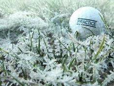 Old ball with word practice on it lies on grass covered with frost or ice crystals. Macro focus on grass. Golf Range, Ice Crystals, Golf Tips, Frost, Stock Photos, Image, Winter, Catalog, Key